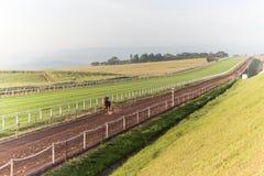 Entrenamiento de la pista de la arena de los jinetes de los caballos de raza Foto de archivo