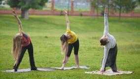 Entrenamiento de la yoga en parque - los deportistas jovenes realizan el ejercicio de la flexibilidad al aire libre almacen de video