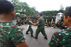 Entrenamiento de las técnicas de la autodefensa para los agentes de seguridad Fotografía de archivo