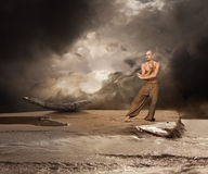 Entrenamiento de los artes marciales del claro de luna Imagen de archivo libre de regalías