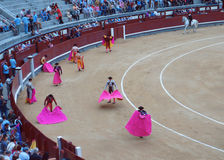 Entrenamiento de los toreros antes de la tauromaquia Foto de archivo libre de regalías
