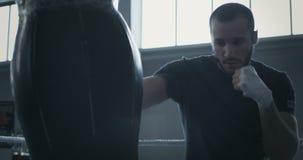 Entrenamiento del boxeador con el punchbag metrajes
