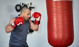 Entrenamiento del boxeador en un gimnasio Imagen de archivo