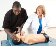 Entrenamiento del CPR - enseñanza para adultos fotografía de archivo
