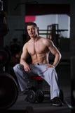 Entrenamiento del culturista con pesas de gimnasia en el gimnasio, cuerpo masculino muscular perfecto Foto de archivo libre de regalías