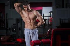 Entrenamiento del culturista en el gimnasio, cuerpo masculino muscular perfecto Fotografía de archivo libre de regalías