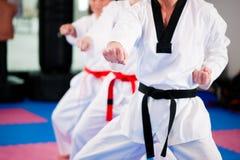 Entrenamiento del deporte de los artes marciales en gimnasia Fotografía de archivo