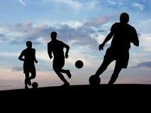 Entrenamiento del fútbol (cielo) Foto de archivo