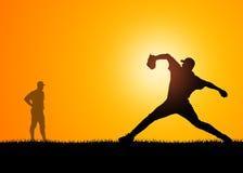Entrenamiento del jugador de béisbol stock de ilustración