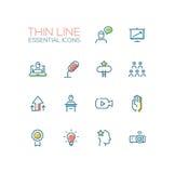 Entrenamiento del negocio - sola línea fina iconos fijados Fotos de archivo libres de regalías