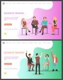 Entrenamiento del negocio, trabajadores del seminario que hacen frente al sistema ilustración del vector