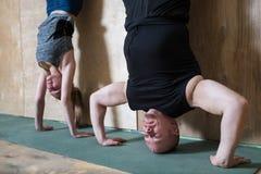 Entrenamiento del pectoral de la posición del pino de la gente en el gimnasio, updide de las flexiones de brazos abajo cerca de l Foto de archivo