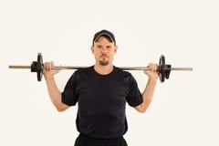 Entrenamiento del peso del hombre de la salud y de la aptitud fotografía de archivo