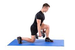 Entrenamiento derecho de la Fractura-posición en cuclillas de la pesa de gimnasia Imagen de archivo