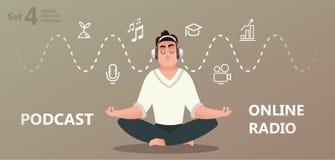 Entrenamiento en línea, podcast, radio stock de ilustración