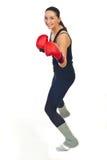 Entrenamiento feliz de la mujer del boxeador Foto de archivo