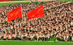Entrenamiento militar de los estudiantes de primer año de la universidad fotografía de archivo