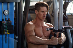 Entrenamiento muscular del culturista del atleta en el simulador en el gimnasio Foto de archivo