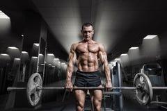 Entrenamiento muscular del hombre con el barbell en el gimnasio Trabajo del barbell de Deadlift Foto de archivo libre de regalías