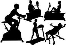 Entrenamientos del ejercicio de la aptitud de la gimnasia de mujeres Fotos de archivo libres de regalías