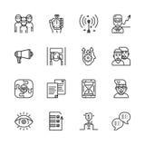 Entrenando, línea sistema del vector del entrenamiento y de la tutoría del icono Foto de archivo libre de regalías