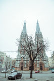 Entrence of Gothic Church in cold spring day. Entrence of Gothic Church in cold cloudy spring day Stock Photography