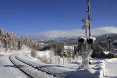 Entrene a las pistas en la nieve Fotos de archivo libres de regalías