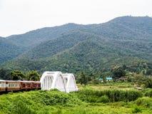 Entrene a pasar un puente y a los campos verdes en Chiang Mai Foto de archivo
