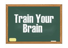 Entrene a su ejemplo del vector del aviso de la pizarra del cerebro ilustración del vector