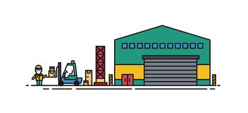 Entrepôt avec les portes de rouleau, le chariot élévateur et le travailleur de chargeur se tenant près de lui Bâtiment commercial Image stock