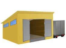 Entrepôt avec un camion stationné à coté Image stock