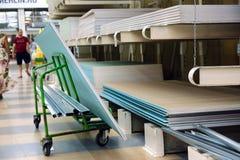 Entrepôt de palette des matériaux de construction, concept de logistique, construction des maisons photographie stock