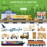 Entrepôt et bannière de logistique Image stock