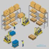 Entrepôt chargeant l'illustration isométrique de vecteur Photos stock