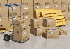 Entrepôt de mémoire avec les marchandises emballées Image libre de droits