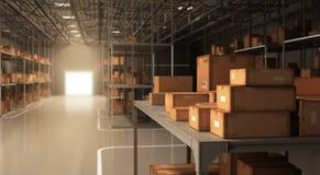 Entrepôt et boîtes Image stock