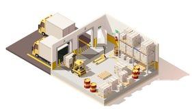 Entrepôt isométrique de vecteur bas poly illustration libre de droits