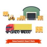 Entrepôt, logistique, camion de remorque, cargaison de chargement Photographie stock libre de droits