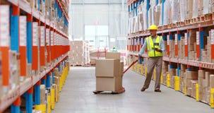 Entreposez le travailleur à l'aide du comprimé numérique tout en vérifiant des paquets banque de vidéos