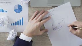 Entreprenör som cirklar tillväxtgrafen på papper, fast vinst som ställer in affärsmål stock video