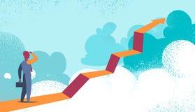 Entreprenör som ser framtiden utöver molnen royaltyfri illustrationer