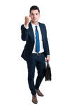 Entrepreneur or boss manager threatening with his fist. Standing elegant isolated on white background Stock Images