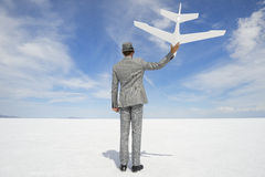 Entrepreneur Businessman Holiding White Airplane Outdoors Stock Images