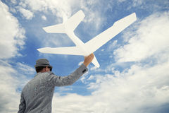 Entrepreneur Businessman Sends White Airplane Into Sky Stock Image