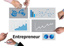Entrepreneur. Businessman work on white broad, top view Stock Photography