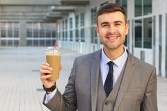Entrepreneur with a coffee obsession.  royalty free stock image