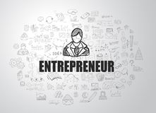 Entrepreneur concept with Business Doodle design style. Online courses, sales and offers, best practice Royalty Free Stock Photos