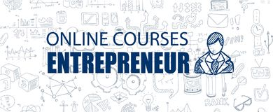 Entrepreneur concept with Business Doodle design style. Online courses, sales and offers, best practice Stock Photo