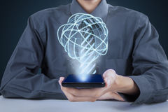 Entrepreneur and 3d earth with connection lines Stock Image