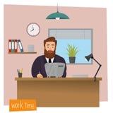 Entrepreneur d'homme d'affaires dans un costume fonctionnant à son bureau illustration de vecteur